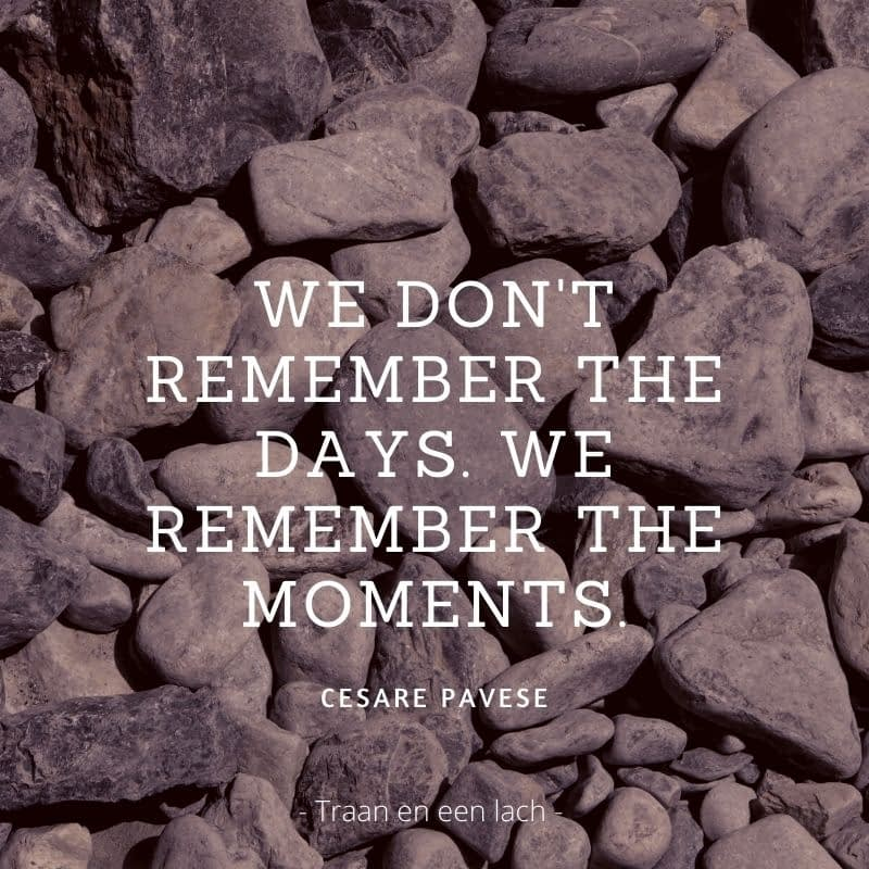 Quote - We don't remember the days. We remember the moments - Traan en een Lach