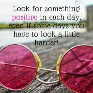 Quote - Look for something positive in each day, even if some days you have to look a little harder - Traan en een Lach